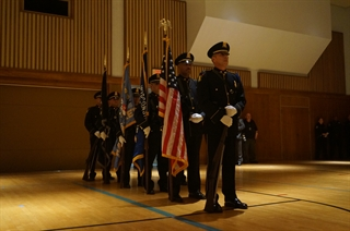 Flag color guards at Chief Edward Flynn swearing-in ceremony