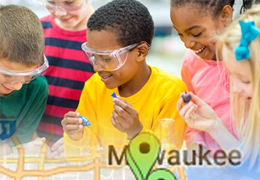 A digital illustration of students in a science lab.