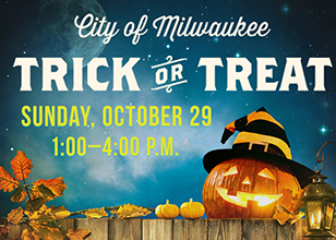 A photo of a jack-o-lantern, pumpkins, candles and message: Trick-or-Treat is Sunday, Oct. 29 1-4 pm