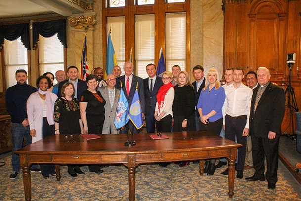 Group photo after signing Sister City agreement between Milwaukee, Wisconsin and Irpin, Ukraine.