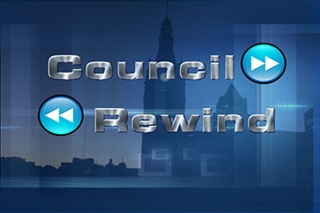 "Council Rewind opener, consisting of 3D letters that spell out ""Council Rewind."""