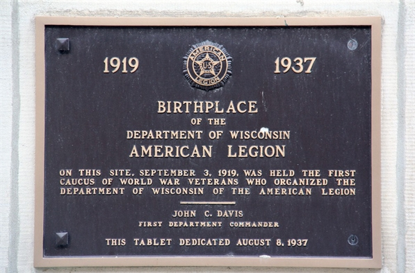 Birthplace of the Department of Wisconsin American Legion plaque