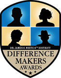 "Image of Difference Makers Logo - Four silhouettes above the words ""Dr. James G White 6th District Difference Makers Awards,"" all within a shield shape."