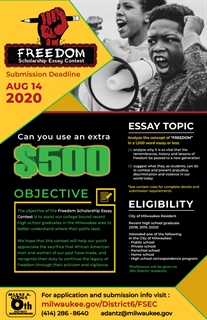 Poster for 2020 Freedom Scholarship Essay Contest