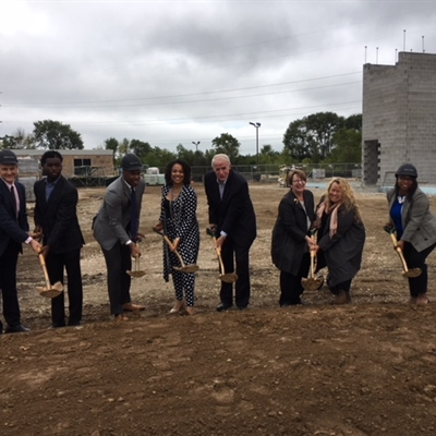 Ceremonial groundbreaking at Good Hope Library on Sept. 18, 2018. This state of the art 17,500 square foot library will be mixed use with affordable housing units.