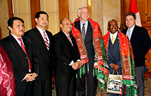 Mayor Tom Barret pictured with members of the City of Medan delegation.