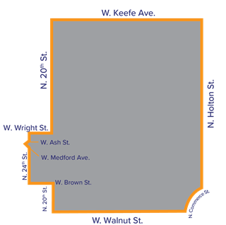 A map of the North Division/Harambee Promise Zone showing only the boundaries by street.
