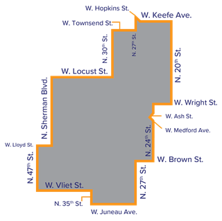 A map of the Washington Park Promise Zone showing only the boundaries by street.