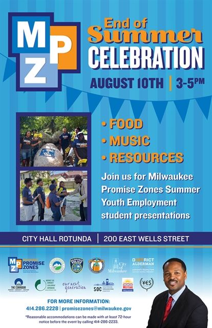 Milwaukee Promise Zone end of summer event poster