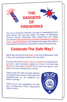 Click to open The Dangers of Fireworks brochure.