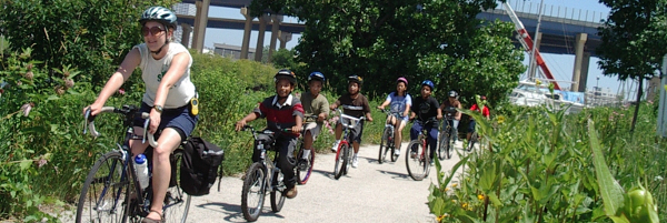 Kids cycling as part of a bike camp.