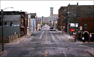 Street view of S. 2nd St. before lane reconfiguration.