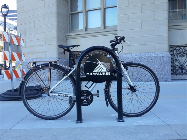Decorative Bike Rack with Black Milwaukee Logo