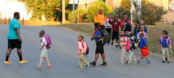 "Children participating in a ""walking school bus"""