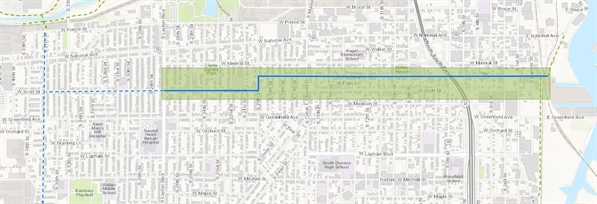 Map of proposed bike boulevard. West Scott Street from South Layton Boulevard to South 20th Street, 20th Street from Scott Street to Washington Street, and Washington Street from South 20th Street to the Kinnickinnic River Trail