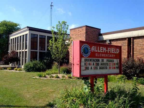 The main entrance to Allen-Field Elementary