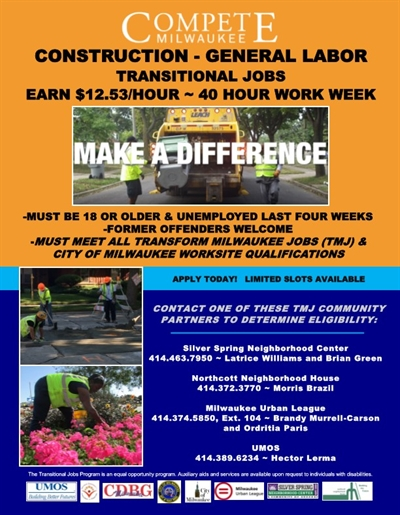 Compete Milwaukee Paid Construction Work Experience! Call Hector at 414-389-6234 for more details.