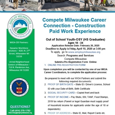 Compete Milwaukee Paid Construction Work Experience! Call Brian at 414-270-1782