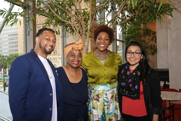 2016 Milwaukee Arts Board Artists of the Year are Dasha Kelly (center right) and Della Wells (center left) with MAB members Vedale Hill and Xela Garcia.