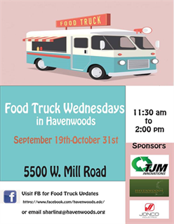 Havenwoods Food Truck Wednesdays Flyer