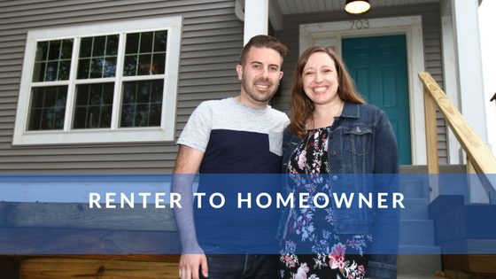 renter to homeowner - happy couple in front of their home.