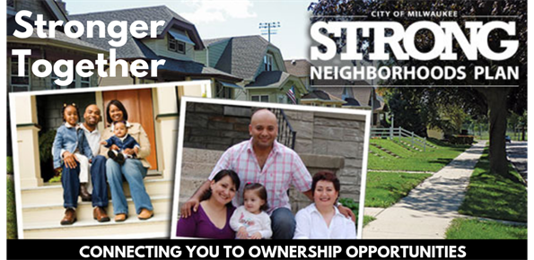 Stronger together banner with homes and families