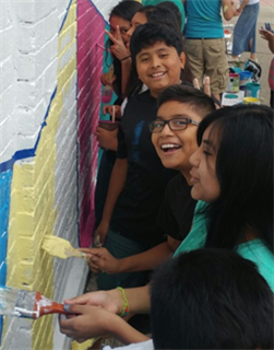 Image of kids painting mural