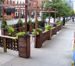 Outdoor cafe corral - wood planters and enclosure