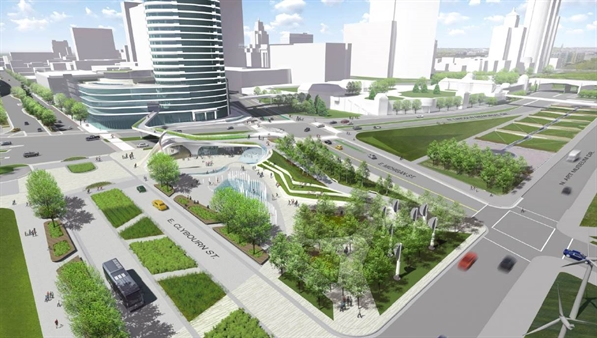 rendering of Lakefront Gateway Plaza Design