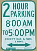 City of Milwaukee two hour parking sign.