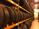 A photo of the tire racks at the Fleet Tire Shop