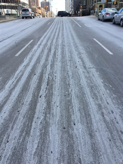 Picture of salt brine on street
