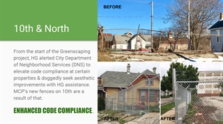 10th & North: From the start of the Greenscaping project, HG alerted City Department of Neighborhood Services (DNS) to elevate code compliance at certain properties & doggedly seek aesthetic improvements with HG assistance. MCP's new fences on 10th are a result of that. ENHANCED CODE COMPLIANCE