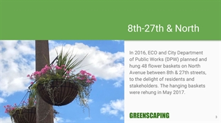 8th-27th & North: In 2016, ECO and City Department of Public Works (DPW) planned and hung 48 flower baskets on North Avenue between 8th and 27th streets, to the delight of residents and stakeholders. The hanging baskets were rehung in May 2017. GREENSCAPING
