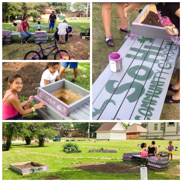 Photo of neighborhood activity painting gardening beds