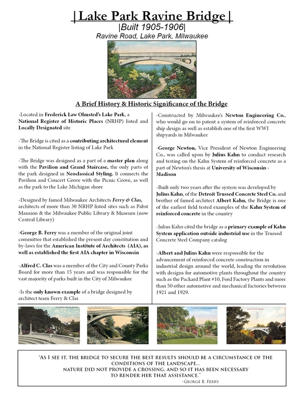 Lake Park Ravine Bridge| |Built 1905-1906| Ravine Road, Lake Park, Milwaukee. readable PDF