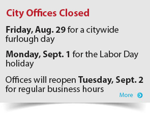 City Offices Closed Aug. 29 and Sept 1