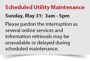Scheduled utility maintenance on Sunday, May 31 3am - 4pm