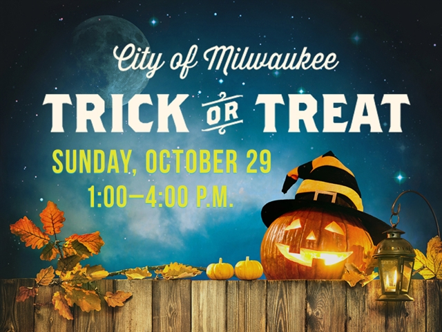 A photo of a jack-o-lantern, pumpkins and candles with the message: Trick or Treat Sunday, October 29th from 1-4pm