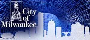 Open Data icon with Milwaukee skyline silohette