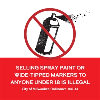 Selling spray paint to anyone under 18 is illegal graphic
