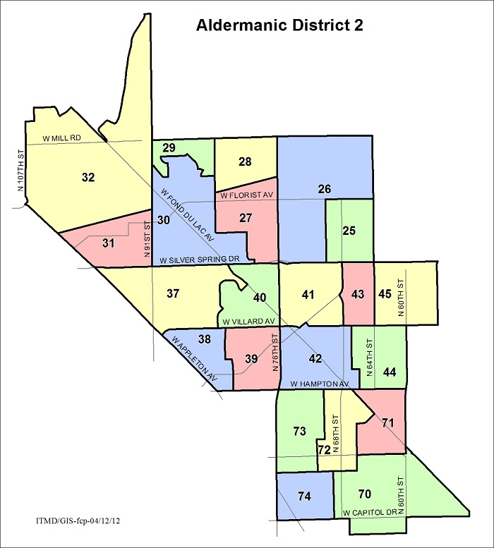 Map Aldermanic District 2 Voting Wards