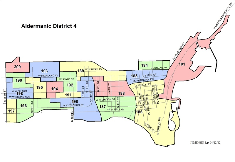 Map Aldermanic District 4 Voting Wards