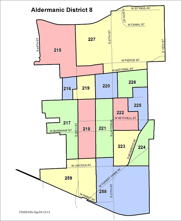 Map Aldermanic District 8 Voting Wards