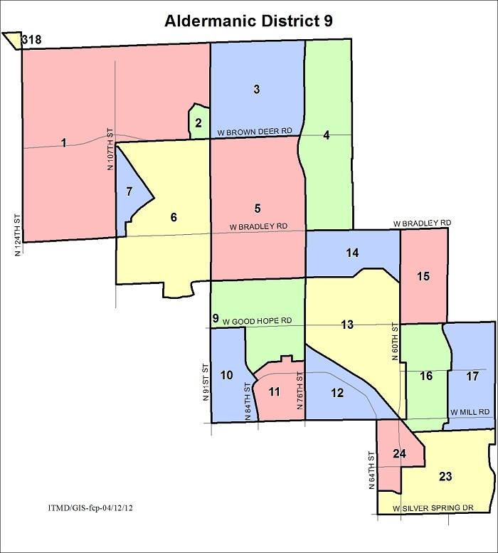 Map Aldermanic District 9 Voting Wards