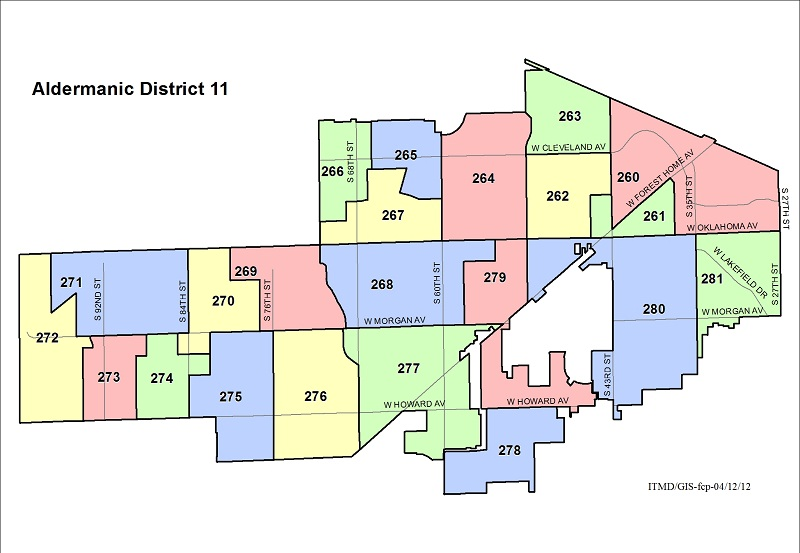 Map Aldermanic District 11 Voting Wards