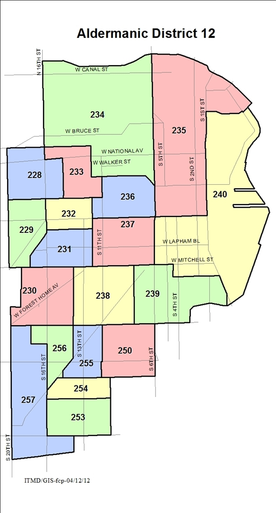 Map Aldermanic District 12 Voting Wards
