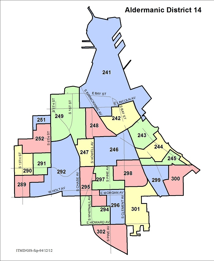 Map Aldermanic District 14 Voting Wards