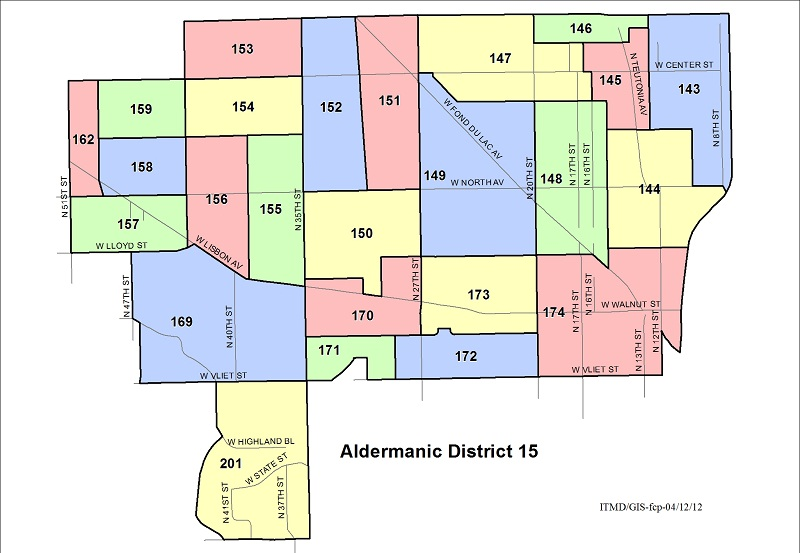 Map Aldermanic District 15 Voting Wards