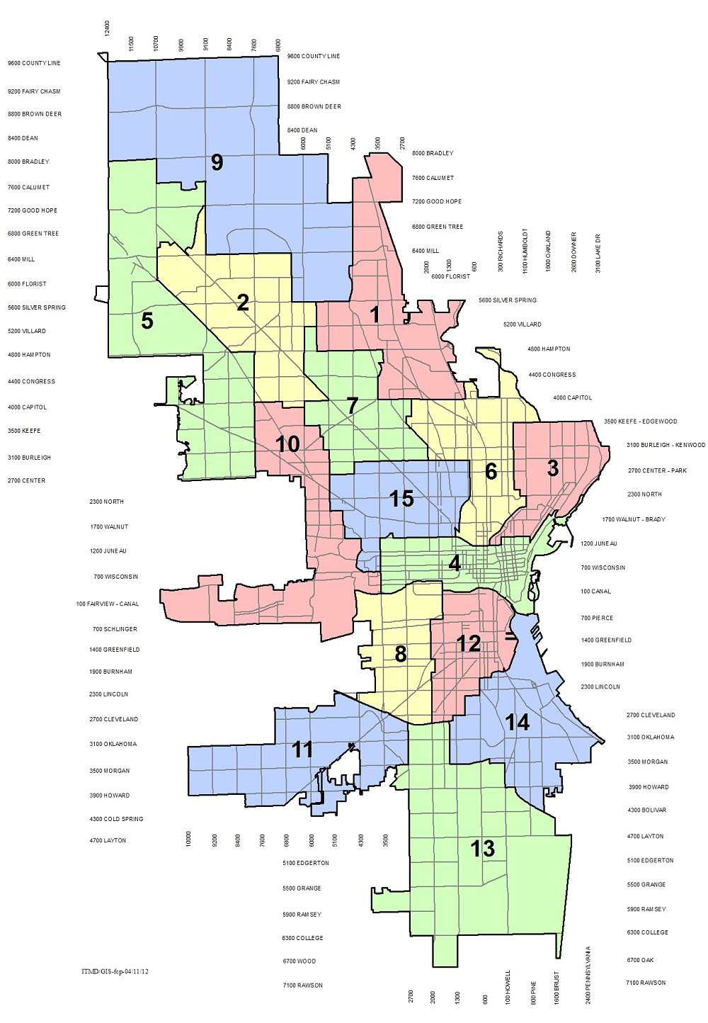 Map City of Milwaukee Aldermanic Districts